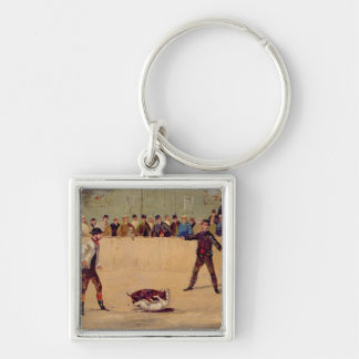 Dog Fighting (oil on paper) Silver-Colored Square Keychain