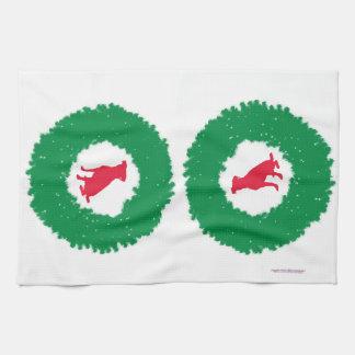 Dog Floppy Ears Christmas Wreath - Holiday Dog Kitchen Towel