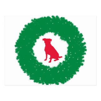 Dog Floppy Ears Christmas Wreath - Holiday Dog Postcard