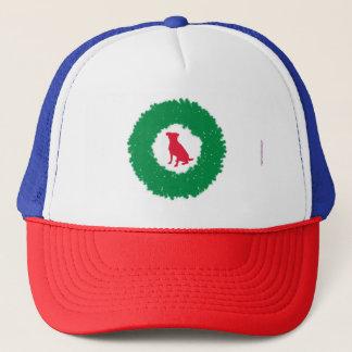 Dog Floppy Ears Christmas Wreath - Holiday Dog Trucker Hat