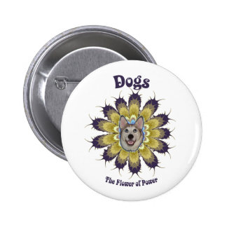 Dog Flower of Power Pinback Buttons