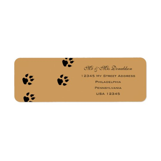 Dog Foot Prints Address Labels