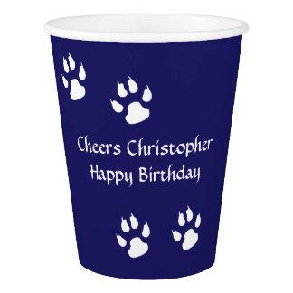 Dog Footprints Blue Paper Cup