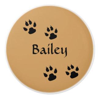 Dog Footprints Ceramic Knob