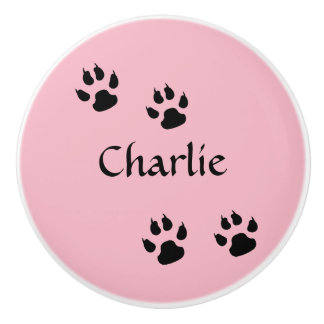 Dog Footprints Pink with Name Template Ceramic Knob