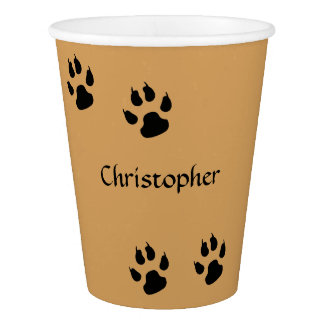 Dog Footprints Yellow Paper Cup