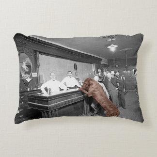 Dog Friendly Saloon Tavern Bar 1900 Photograph Decorative Pillow
