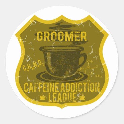Dog Groomer Caffeine Addiction League Round Sticker