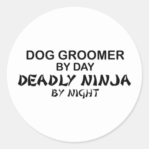 Dog Groomer Deadly Ninja Round Stickers