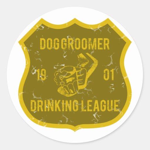 Dog Groomer Drinking League Round Stickers