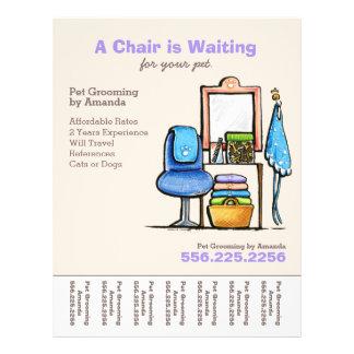 Dog Groomer Pet Salon Chair Waiting Tear Sheet Personalized Flyer