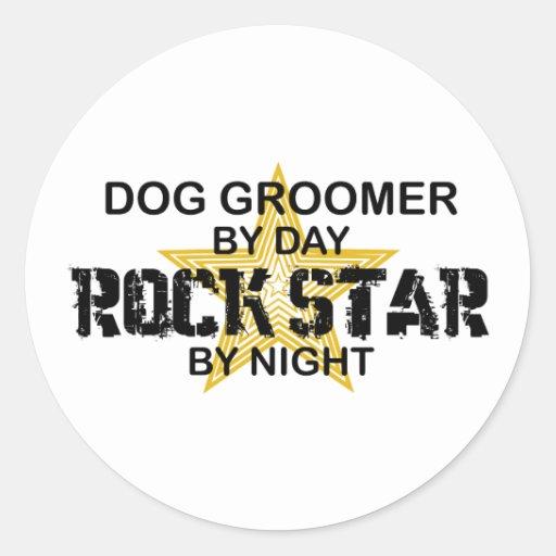Dog Groomer Rock Star Round Stickers