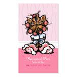 Dog Groomer Spa Yorkie Pink Customer Rewards Punch Business Card