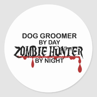 Dog Groomer Zombie Hunter Round Sticker