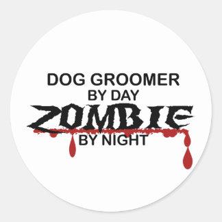 Dog Groomer Zombie Round Sticker