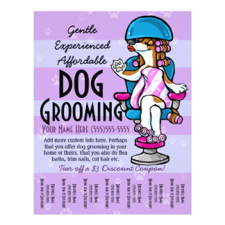 Dog Grooming. Customizable Promotional Tear sheet Full Colour Flyer