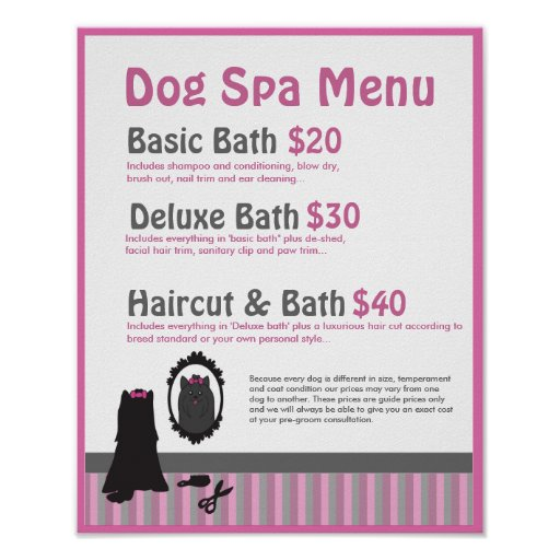 Dog Grooming Spa Menu Personalizable Poster Zazzle Ca