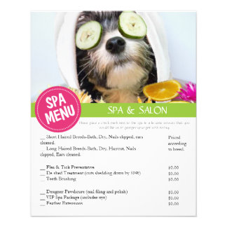 Dog Grooming Spa Services Menu Personalized Flyer