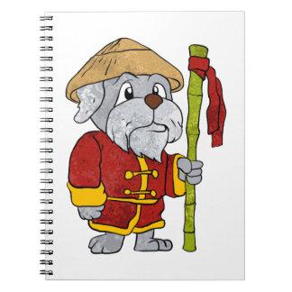 Dog guru master cartoon spiral notebook