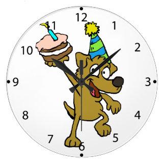 Dog happy birthday large clock