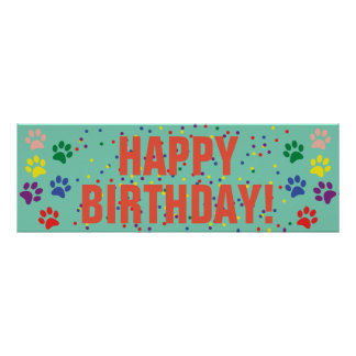Dog Happy Birthday party banner poster