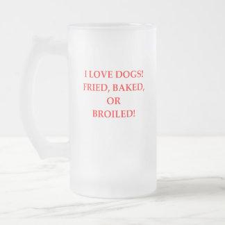 dog hater frosted glass beer mug
