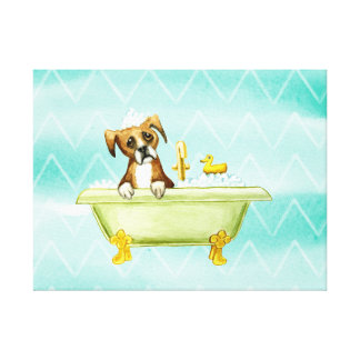 DOG HAVING A BATH. ADORABLE CUTE PUPPY DOG CANVAS PRINT