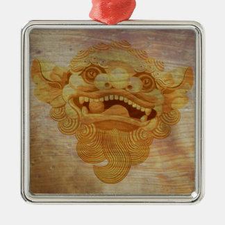 Dog head on a wooden board 9.1.3 metal ornament