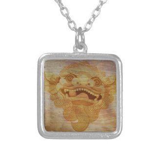 Dog head on a wooden board 9.1.3 silver plated necklace