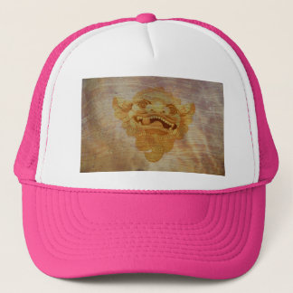 Dog head on a wooden board 9.1.3 trucker hat