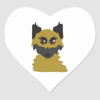 Dog Head Heart Sticker