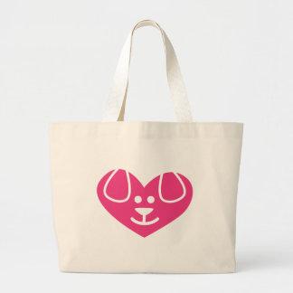 Dog Heart Pink Jumbo Tote Bag