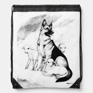 Dog Heaven, the Master's Flock Drawstring Bag