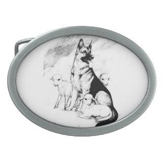 Dog Heaven, the Master's Flock Oval Belt Buckle