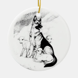 Dog Heaven, the Master's Flock Round Ceramic Ornament