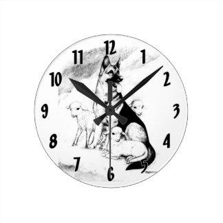 Dog Heaven, the Master's Flock Round Clock