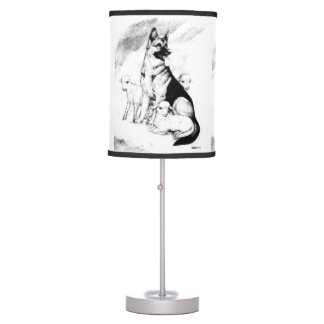 Dog Heaven, the Master's Flock Table Lamp
