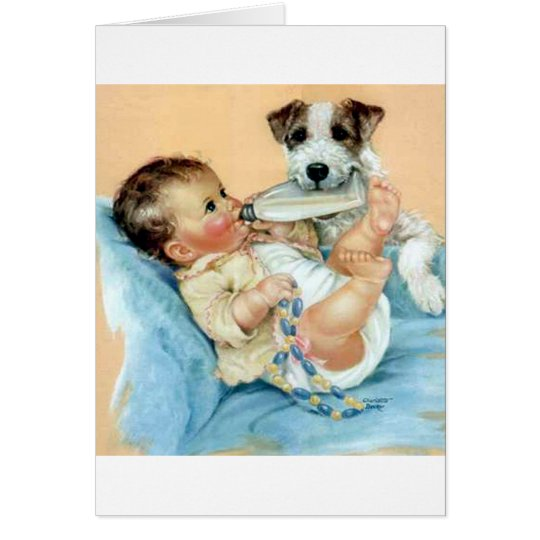 dog helping baby card