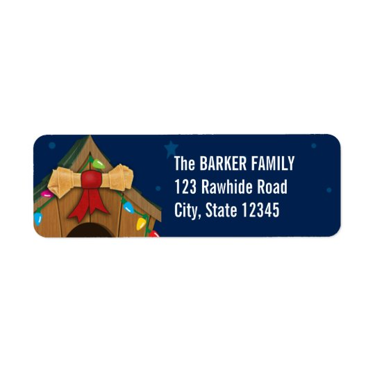 Dog House Christmas Return Address Label