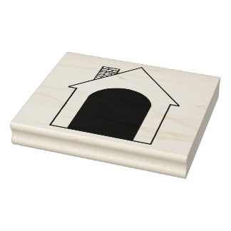 Dog House Wooden Block Mounted Rubber Stamp