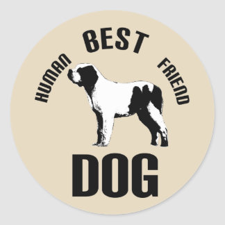 Dog Human Best Friend Classic Round Sticker