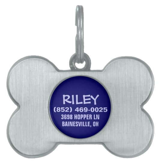 Dog ID Tag - Navy Blue Bone