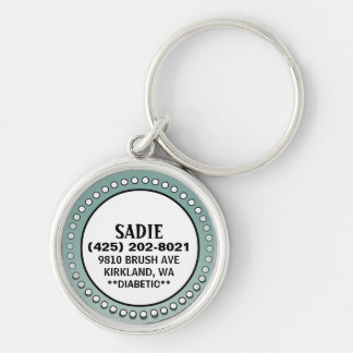 Dog ID Tag - Sage Green Stud Circle Silver-Colored Round Keychain