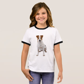 Dog image for Girl's Ringer T-Shirt, White/Black Ringer T-Shirt