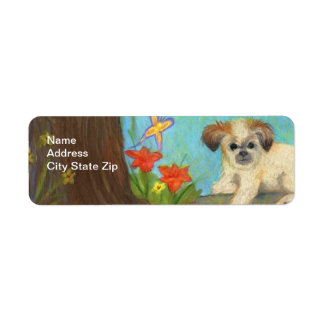 Dog in a Day Lily Garden / Return Address Labels