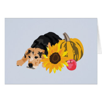 Dog in autumn card