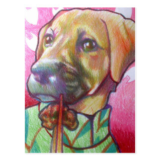 dog in cheongsam eating beef postcard