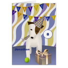 Jack russell happy birthday cards photocards invitations more dog in party hat with gift boys happy birthday card bookmarktalkfo Image collections