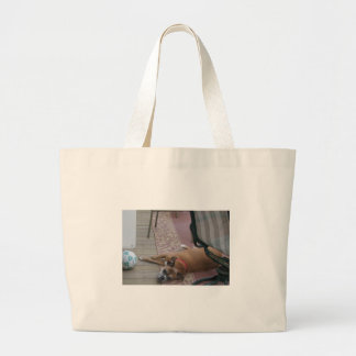 Dog Just Chilling Large Tote Bag