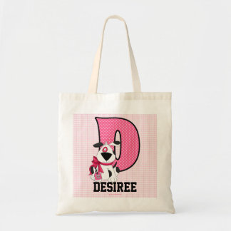 "Dog Kids Monogrammed Letter ""D"" Pink Tote Bag"